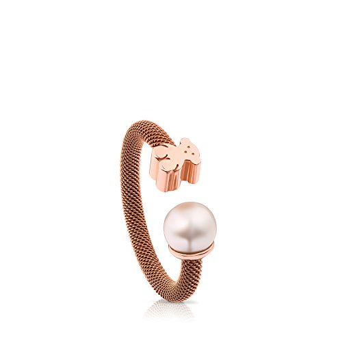 Anillo TOUS Icon Mesh de acero IP rosa y plata vermeil rosa con perla de 0,65 cm