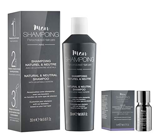 Mon Shampoing - Duo Shampoing Naturel - Cheveux Secs/Frisés - Sans SLS/Sans Paraben/Sans Silicone - Huiles Essentielles & Vég. Lavande - Géranium - Argan - Convient pour Lissage/Extension. 250ml + 5ml