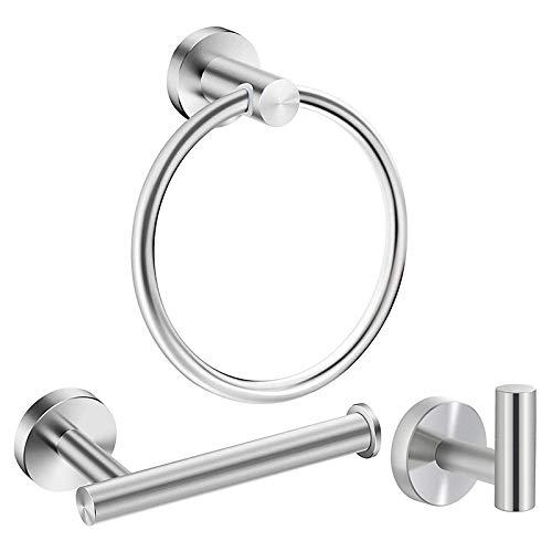 Haudang - Juego de accesorios de baño de acero inoxidable y níquel cepillado, 3 piezas, incluye anillo de toalla de mano, soporte para papel higiénico, gancho para albornoz resistente