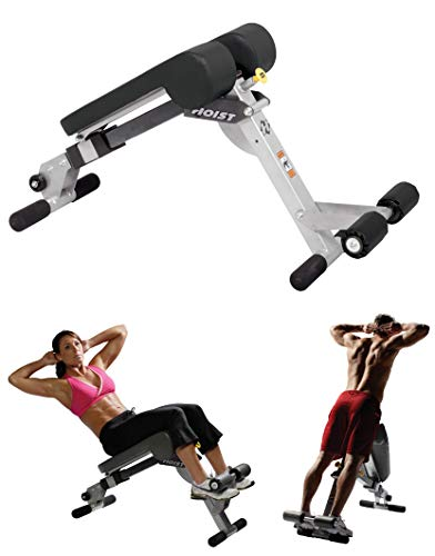 HOIST Fitness HF-4263 Dual Adjustable Ab / Back Hyper Roman Chair Exercise Bench - Platinum