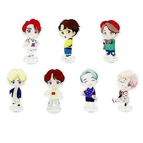 Youyouchard Kpop BTS Bangtan Boys Standing Figure, Desk Stand Miniature Action Figure Acrylic Anime Figure Display Stand for Home Office Decor(7PCS)
