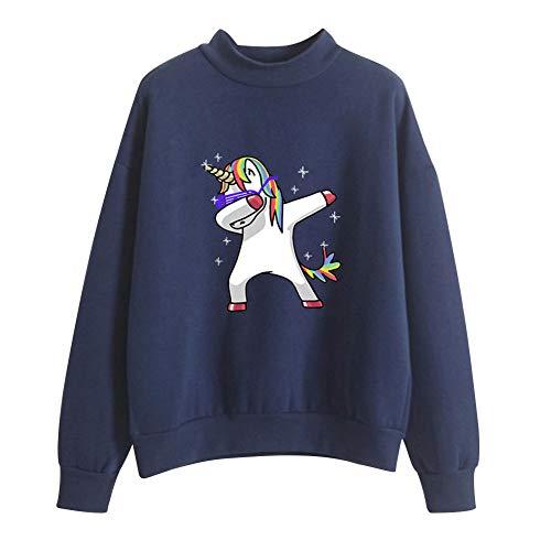 Camiseta Unicornio Unisex Sudadera Sin Capucha Deporte Mujer Camisa Cuello Alto Blusa Manga Larga Pullover Hip Hop Hoodie Sweatshirt Baggy Jumper Top Sueter Jersey Shirt A9025WY1243XL