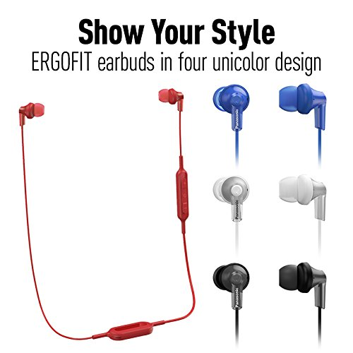 PANASONIC Bluetooth Earbud Headphones with Microphone, Call/Volume Controller and Quick Charge Function - RP-HJE120B-R - in-Ear Headphones (Red)