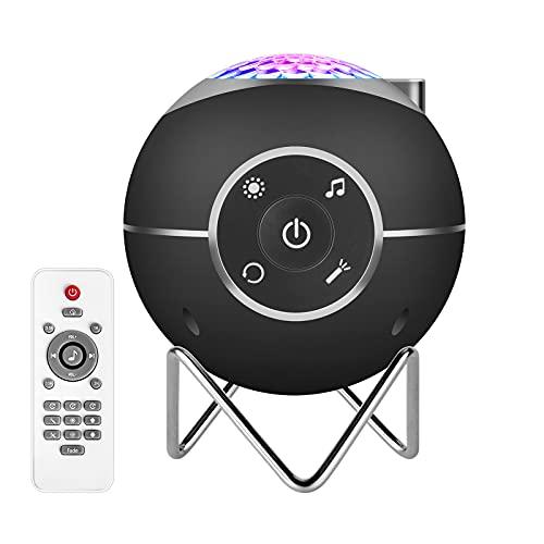 ibell Proyector Estrellas,Lámpara LED de proyección musical recargable por USB con 14 modos y mando a distancia y temporizador y soporte de metal para niños adultos regalos para la noche (Negro)