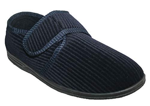 Northwest Territory Zapatos ortopédicos para diabéticos, de fácil cierre, de ajuste ancho, cierre de barra con correa para hombre