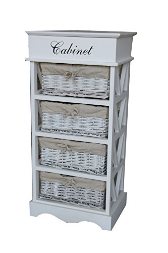 Shabby Chic Modern Wooden White Cabinet Storage Units Cupboard Bedside Table with 4 Wicker Baskets Drawer Bedroom Bathroom Kitchen Furniture (4 Baskets)