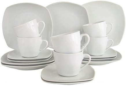 Preisvergleich für Square Weiss Kaffee Service 18 teilig Neu Eckig Porzellan Geschirr Set 6 Personen