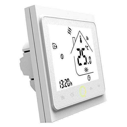 Termostato WiFi para calefacción eléctrico 16 A, termostato inteligente pantalla LCD (TN pantalla) Touch Button retroiluminado programable con Alexa Google Home y teléfono APP-blanco