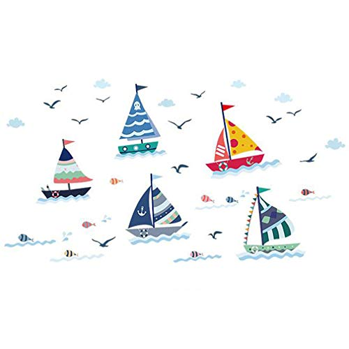 Sailboats Seagulls Sticker Wallpaper Decoration