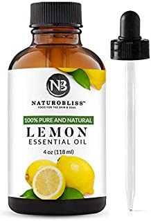 NaturoBliss 100% Pure Lemon Essential Oil Therapeutic Grade Premium Quality (4 fl. oz) with Glass Dropper, Perfect for Aromatherapy