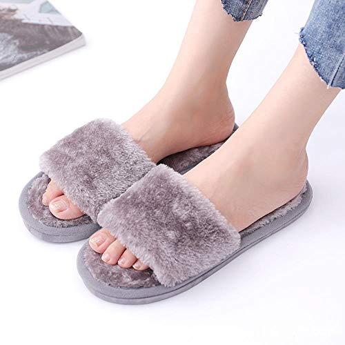 MQQM PlüSch Hausschuhe,Slipper und Warm Fashion Slipper, Indoor Open Toe Chips-Grey_36-37,Damen Winter WäRme Bequem PlüSch Pantoffeln