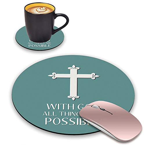 BWOOLL Round Mouse Pad and Coasters Set, Christian Cross Quotes with God All Things are Possible Design Mouse Pad, Non-Slip Rubber Base Mouse Pads for Laptop and Computer