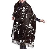 27'x77 Bufanda Envoltura Dia De Los Muertos Skeleton Party Girls Chales y envolturas Bufanda Set para niñas Elegante manta grande y cálida