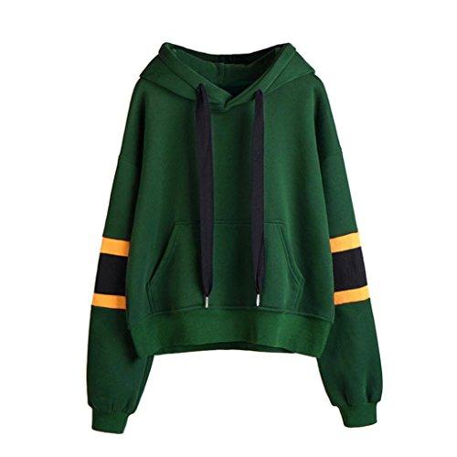 kaifongfu Womens Sweatshirt Long Sleeve Hoodie Sweatshirt Hooded Pullover Tops Blouse (XL, Green)