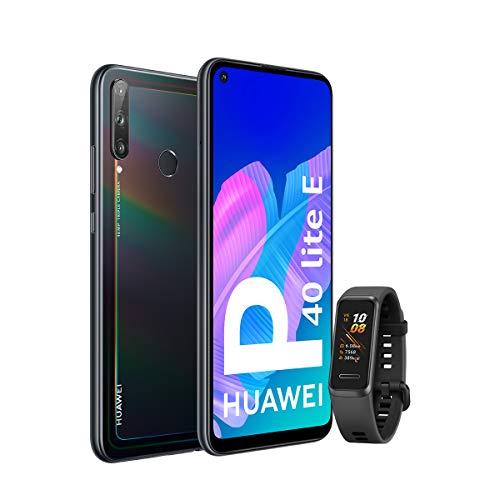 HUAWEI P40 Lite E - Smartphone con Pantalla FullView de 6,39' (Kirin 710, 4 GB + 64GB, Triple Cámara IA de 48MP, Batería de 4000 mAh), Color Negro + Band 4 Negra