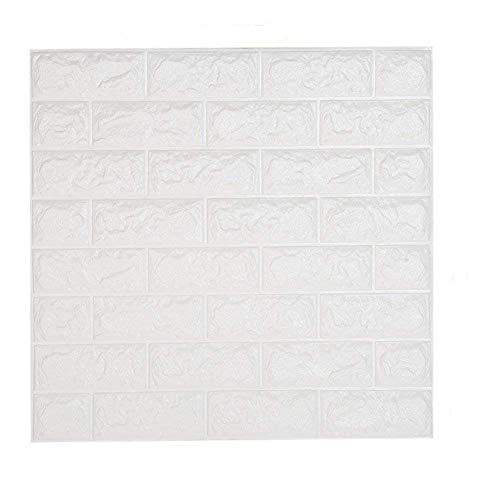 shkax 3D Carta da Parati Mattoni Bianco Impermeabile Carta da Parati Autoadesiva Moderna Muro di Mattoni Adesivi Pannelli 60 cm x 60 cm 3D Stickers Muro per Cucina Ufficio TV Sfondo 10PCS