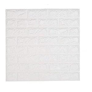 shkax Papel Imitacion Ladrillo Relieve Blanco Papel Pintado Infantil Adhesivos Decorativos Pintado Efecto 3D 60x60cm Desmontable Impermeable Murales de Pared Cocina TV Fondo Dormitorio