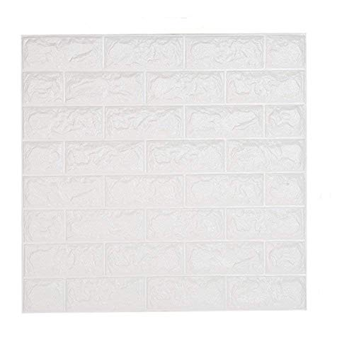 3D Brick Wall Stickers, White Brick Wallpaper, Waterproof...