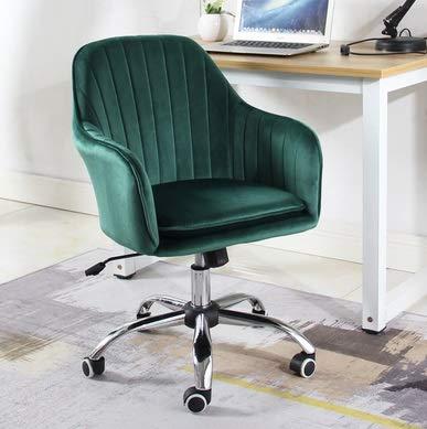 Modern Velvet Dining Office Chair, Armchair Office Woonkamer Slaapkamer Stoel van het Accent Ergonomie Met verstelbare wielen Rotary Chair (Pink) (Color : E)