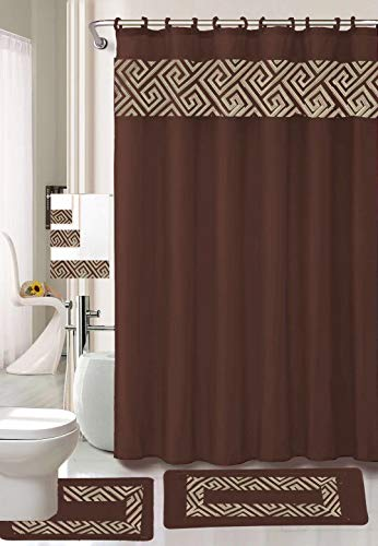 Luxury Home Collection 18 Piece Embroidery Non-Slip Bathroom Rug Set Set Includes Bath Rug Mat, Contour Mat, Shower Curtain, Towels, and Hooks (Chocolate)
