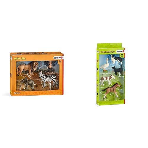Schleich 42387 - Wild Life Starter-Set &  42386 - Farm Word Tier-Mix - Spielzeug