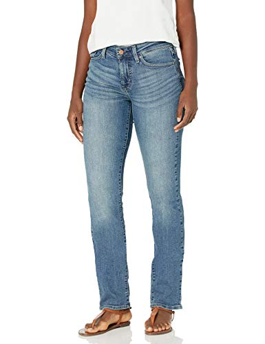 Signature by Levi Strauss & Co. Gold Label Women's Curvy Totally Shaping Straight Jeans, Blue Ice (New), 16 Medium