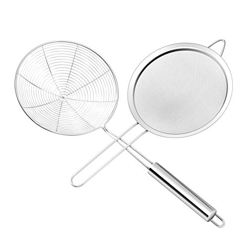 Premium Stainless Steel Fine Mesh food strainer and Spider Strainer Skimmerdiameter 67inch 66inch Skimmer Spoon for Kitchen with Sturdy Handle for Frying and Cooking Pasta Strainer
