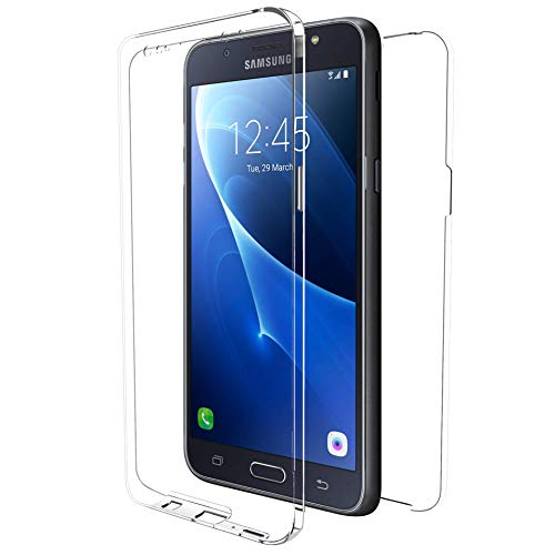 MovilCom - Funda para Samsung Galaxy J7 2016 Transparente Ultra Fina Doble 360   Clear View   Delantera y Trasera   Silicona TPU + PC   Alta Resistencia