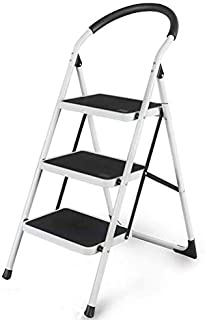 3 Steps Foldable Ladder Household Indoor Kitchen Living Room Portable Step Stool (WHITE)