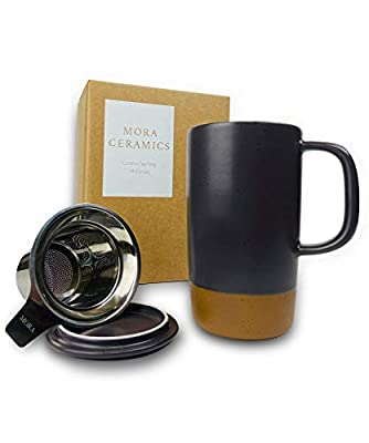 Mora Ceramics Large Tea Mug with Loose Leaf Infuser and Ceramic Lid, 18 oz, Portable, Microwave, Dishwasher Safe, Tall Coffee Cup - Rustic Matte Ceramic Glaze, Modern Herbal Tea Strainer, Nightwaves