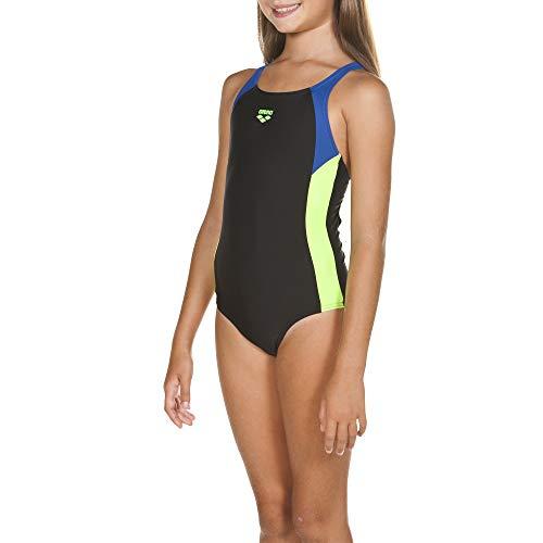 ARENA Mädchen Sport Badeanzug Ren, Black-Royal-Shiny Green, 152