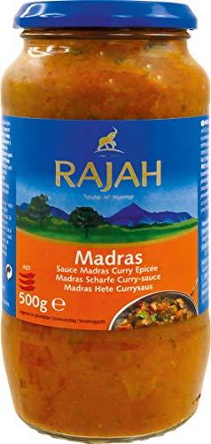 Rajah Madras Curry-Sauce mit Tomaten, Zwiebeln und Chili – Scharfe Fertigsauce – 2 x 500 g