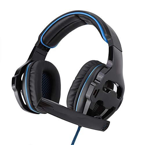 Op het hoofd gemonteerde gaming-hoofdtelefoon, Surround Sound USB Competitieve E-sports bekabelde headset, met microfoon flexibel, gedempte hoofdband, elimineert ruis, spelcomfort(Zwart blauw)