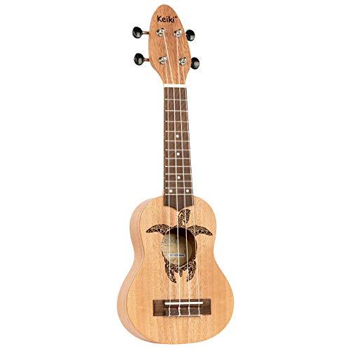 ORTEGA KEIKI Ukulele 4 String - Sopranino Tortiose/Turtle Lasering/KEIKI Headstock/A D F# B/Mahogany Natural K1-MM