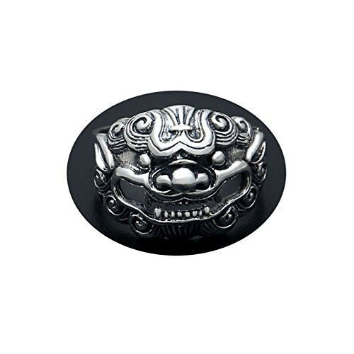 Cinnanal 925 Solid Sterling Silver Ring Gothic Rings for Men Silver Vintage Animalchinese Style