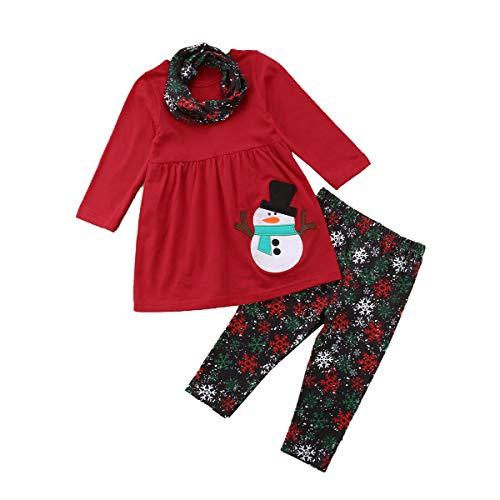 Toddler Kids Baby Girls Christmas Outfits Santa Print Flare Tunic Long Sleeve Dress Shirt Pants Headband Winter Sets (Snowflake Pant Set, 18-24 Months)