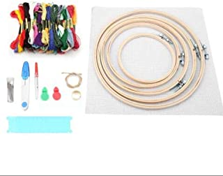 DERCLIVE Stitches Embroidery Needle Set,50 Colors Thread Bamboo Embroidery Ring 5Pcs DIY knitting Needles Set