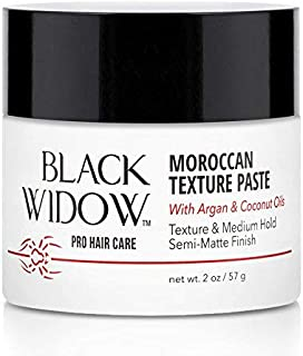 Moroccan Oil Texture Pomade for Men and Women Texturizing and Smoothing - Coconut Oil and Argan Oil Texture Paste with Medium Hold Semi-Matte Finish - Moroccan Texture Paste by Black Widow, 2 oz