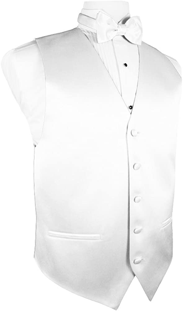 Cardi Men's Solid Satin Tuxedo Vest with Coordinating Bowtie, White