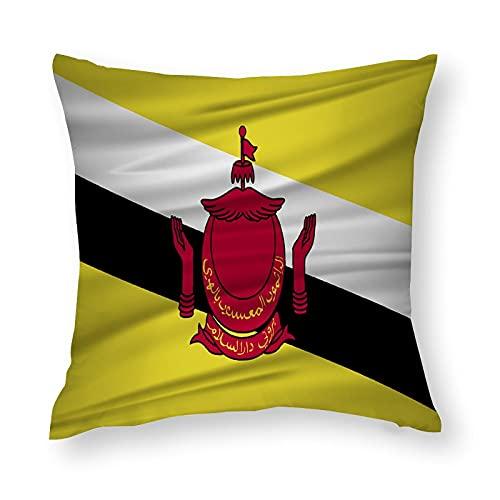 Brunei Darussalam Flaggen-Kissenbezug, quadratisch, dekorativer Kissenbezug für Sofa, Couch, Zuhause, Schlafzimmer, Indoor Outdoor, niedlicher Kissenbezug 45,7 x 45,7 cm