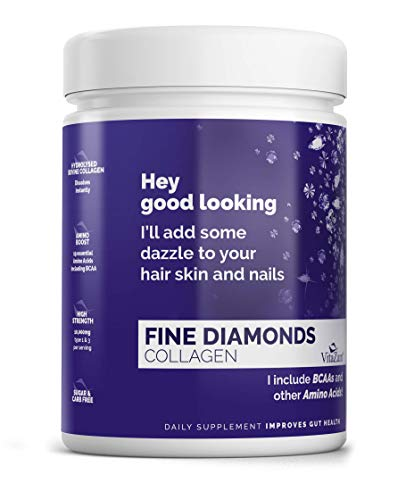 Fine Diamonds by VitaZam - Natural Bovine Collagen Type 1 & 3 - Collagen Powder to Reduce Wrinkles, Strengthen Hair & Nails - 30 Servings Sugar & Carb Free - Natural Collagen Flavour