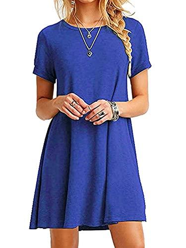 YOINS Vestito Donna Manica Lunga Abiti Invernali Eleganti Abito Mini Maglietta T-Shirt con Scollo Rotondo Sciolto Vestiti Donna da Cocktail Gemma Blu EU44