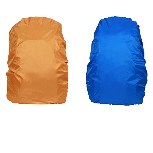 LD Copertura Zaino Impermeabile Antipioggia per All'aperto 15-35L X 2 Pacchetti(Arancione + Blu, M)