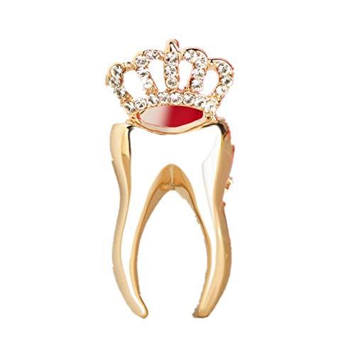 Broche de moda con forma de diente de corona, broches de cristal de aleación, regalo de dentista, traje de mujer y niña, vestido, accesorios de ropa de fiesta, color dorado