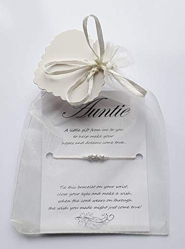 Leia-Marie's Celebration Gifts 1 x Auntie Wish/Friendship Bracelet Presented In A Lovely Ivory Organza Bag....A Lovely Gift/Keepsake! (Auntie)
