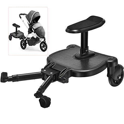 HBIAO Pedal Auxiliar para Cochecito de bebé, Adaptador de Pedal para Cochecito, Remolque Auxiliar para niños, Patinete Doble para autoestopista, Placa de pie con Asiento
