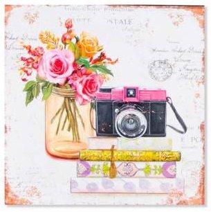 AVENUELAFAYETTE Cadre Tableau Plaque Murale métal Objet Vintage rétro et Bouquet de Fleurs - 35 x 35 cm (Appareil Photo)