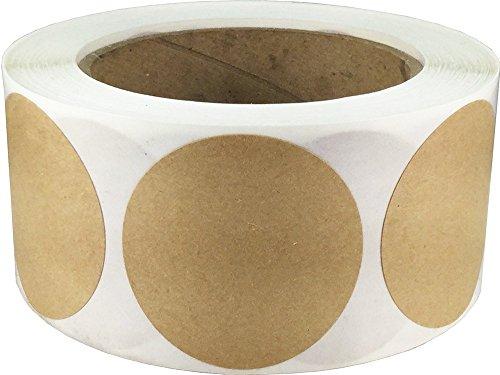 Kraft Natural Marrón Pegatinas Circulares, 51 mm 2 Pulgadas Etiquetas de Puntos 500 Paquete