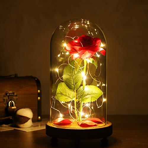 OSALADI Hermosa y la Bestia Rose reciben romántica rosa encantada con luz LED en cúpula de cristal en base de madera para el día de la madre, día de San Valentín, aniversario de bodas