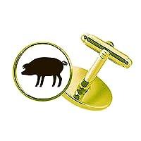 黒豚の動物の描写 スタッズビジネスシャツメタルカフリンクスゴールド